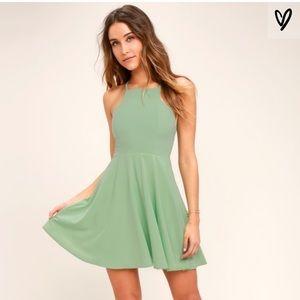 Call to Charms Sage Green Skater Dress Lulu's
